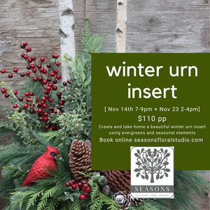 Winter Urn Workshop Nov 23th 2-4pm $110
