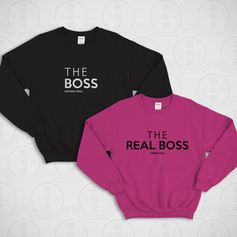 情侶裝圓領衛衣 | BOSS AND REAL BOSS SWEATER SET (BLACK + HOT PINK)