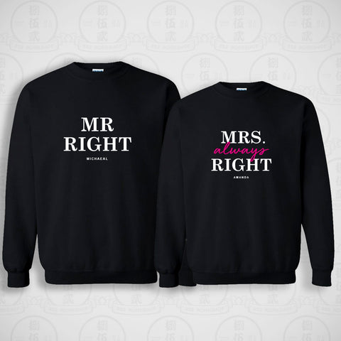 情侶裝圓領衛衣 | MRS ALWAYS RIGHT SWEATER SET (BLACK)