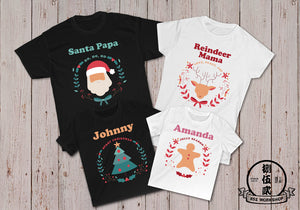 SANTA AND REINDEER Christmas Customize Family T-Shirt Set