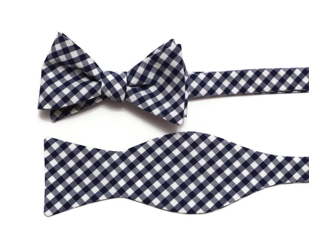 Navy Blue Gingham Check Cummerbund & Bow Tie