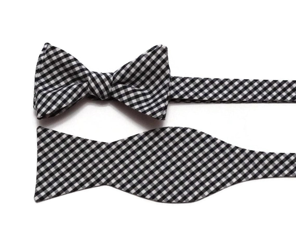 Black Gingham Check Cummerbund & Bow Tie