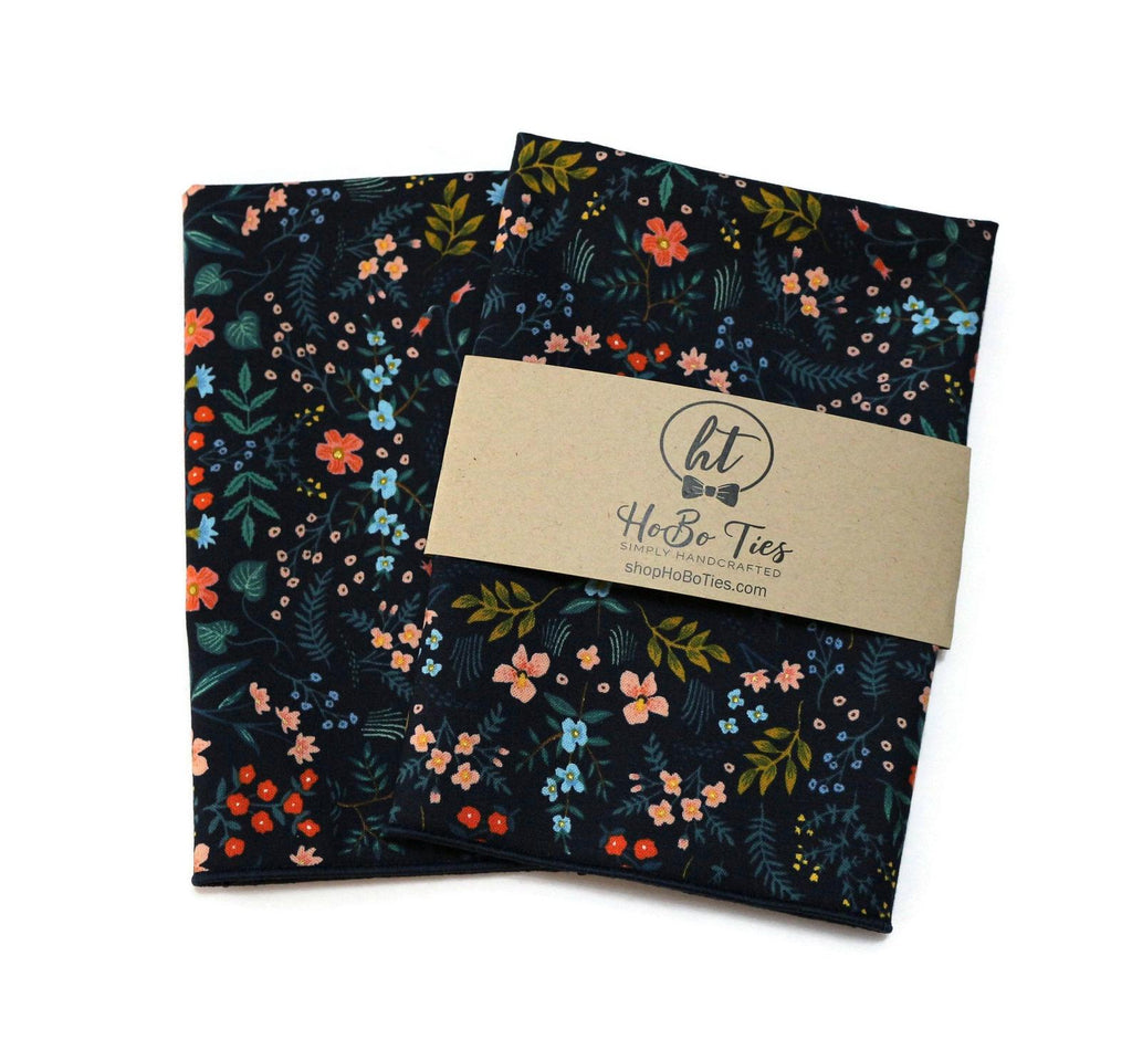 Navy Metallic Floral Pocket Square (Mens)
