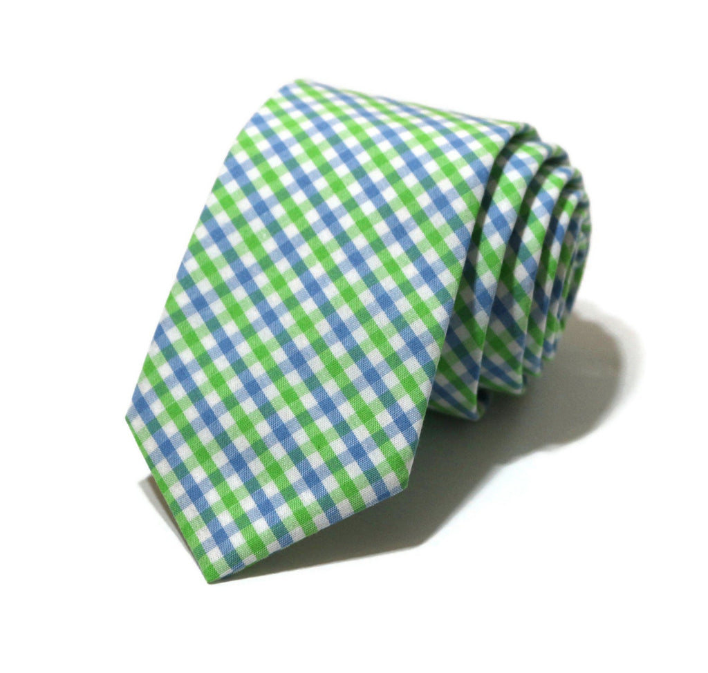 Cornflower & Lime Tattersall Necktie - Youth