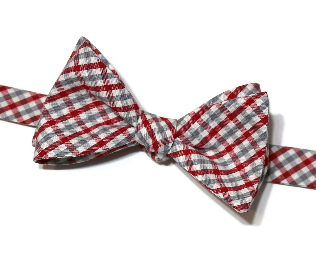 Red & Gray Tattersall Check Bow Tie