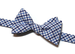 Navy & Blue Tattersall Check Bow Tie