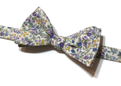 Purple & Sage Floral Bow Tie