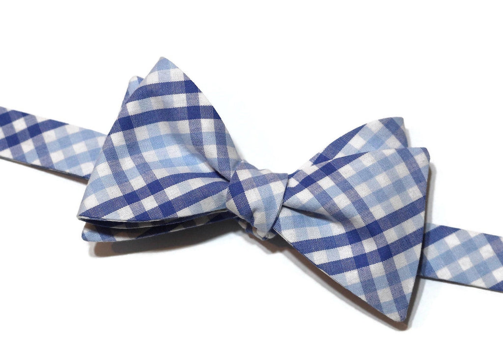 Blue & Light Blue Tattersall Bow Tie