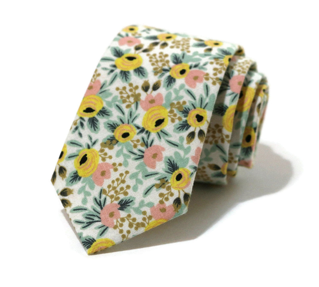 Yellow & Blush Floral Necktie