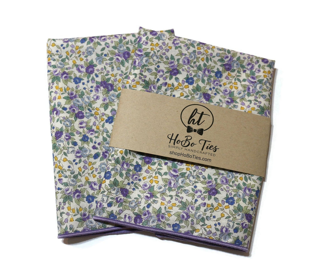 Purple & Sage Floral Pocket Square (Mens)