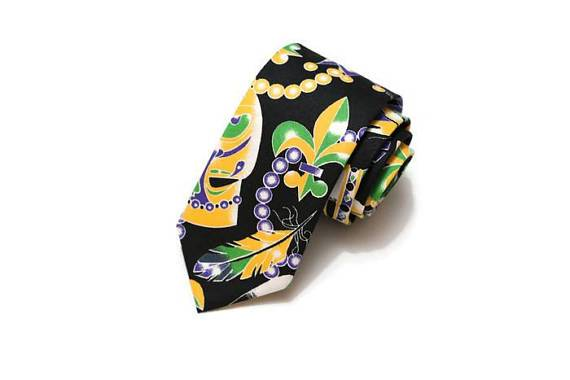 mardi gras necktie, mens tie, mardi gras tie, masks, beads, crowns, purple green gold