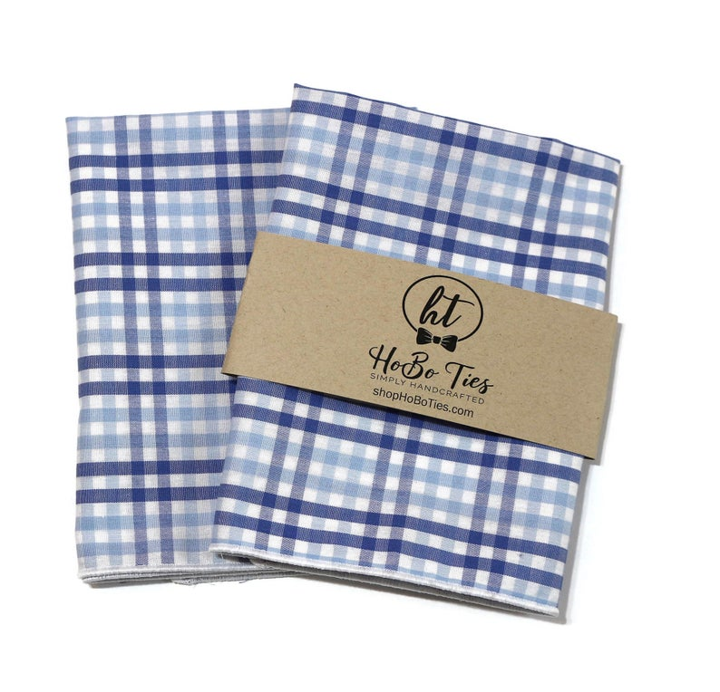 Blue & Light Blue Tattersall Check Pocket Square (Mens)