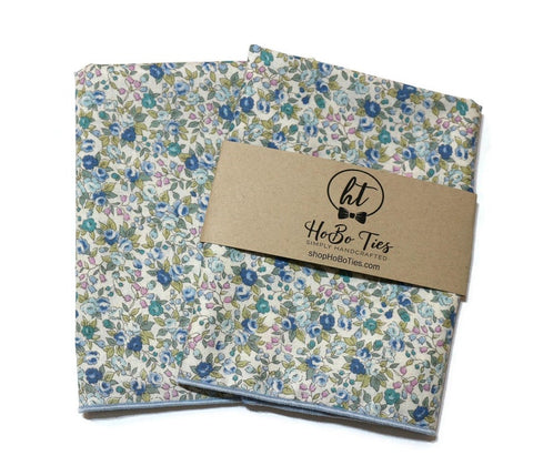 Blue & Sage Floral Pocket Square (Mens)
