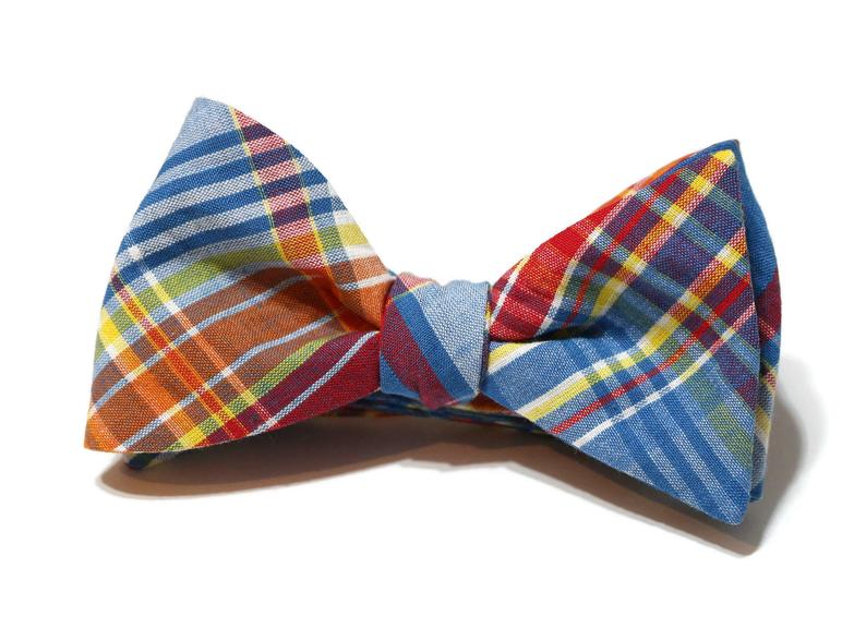 Blue Jay Plaid Seersucker Bow Tie