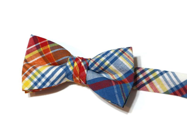 Plaid Seersucker Bow Tie - Boys