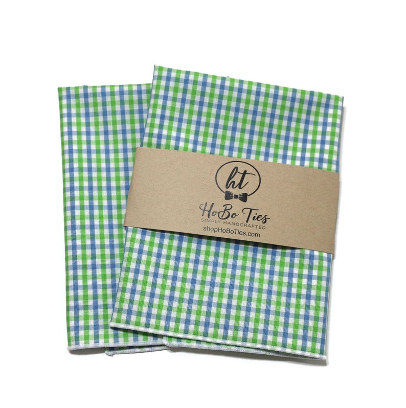 Cornflower & Lime Tattersall Check Pocket Square (Mens)