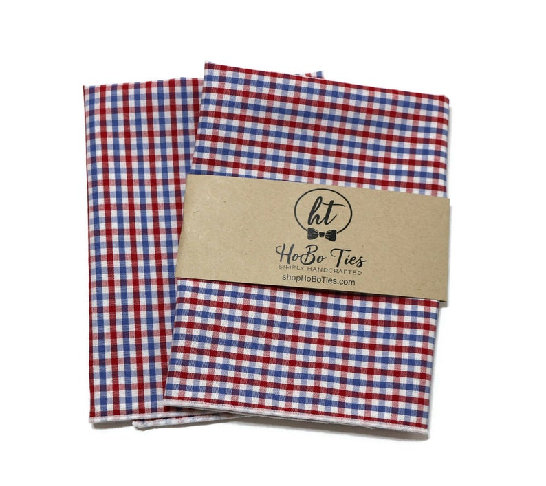 Red & Blue Tattersall Check Pocket Square (Mens)