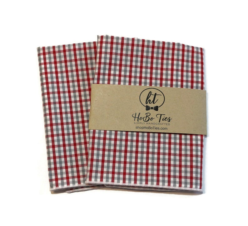 Red & Gray Tattersall Check Pocket Square (Mens)