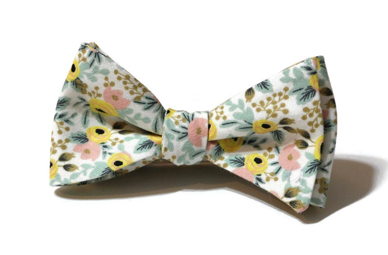 Yellow & Blush Floral Bow Tie