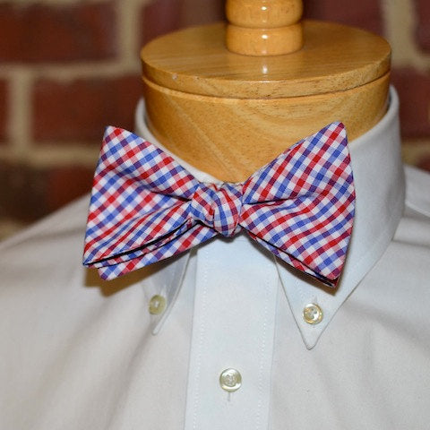 Red & Blue Tattersall Bow Tie