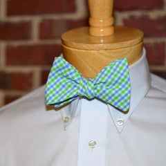 blue green tattersall bow tie, plaid bow tie, spring, easter