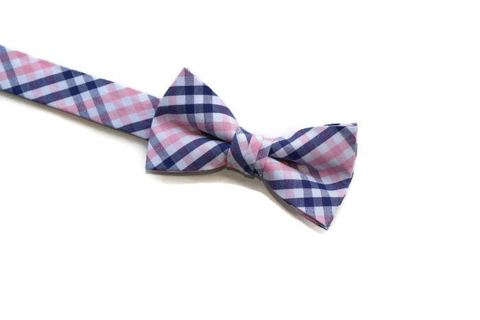 Navy and Pink Tattersall Boys Bow Tie