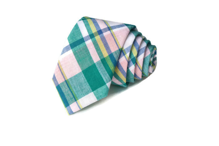Jade & Pink Madras Plaid Necktie