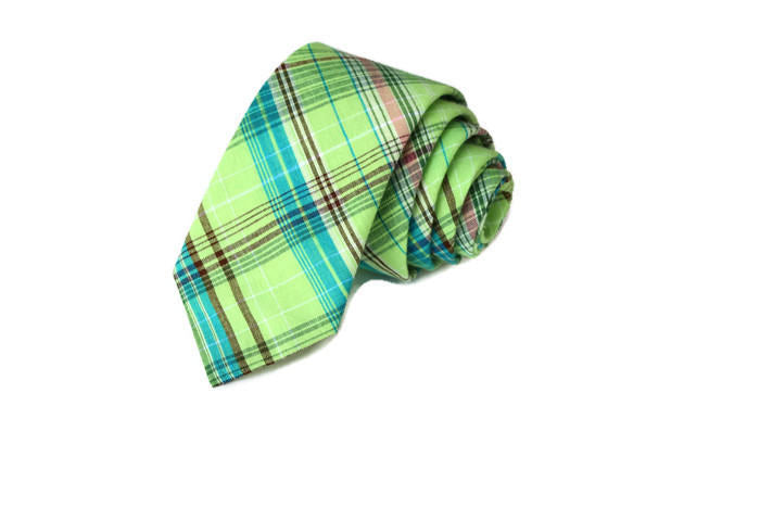 Green Madras Plaid Necktie - Youth