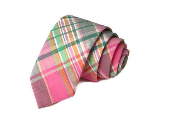 Pink & Green Madras Plaid Necktie
