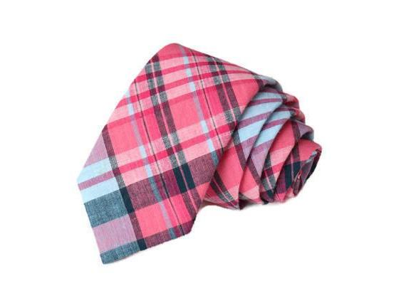 Pink & Navy Madras Plaid Necktie - Youth