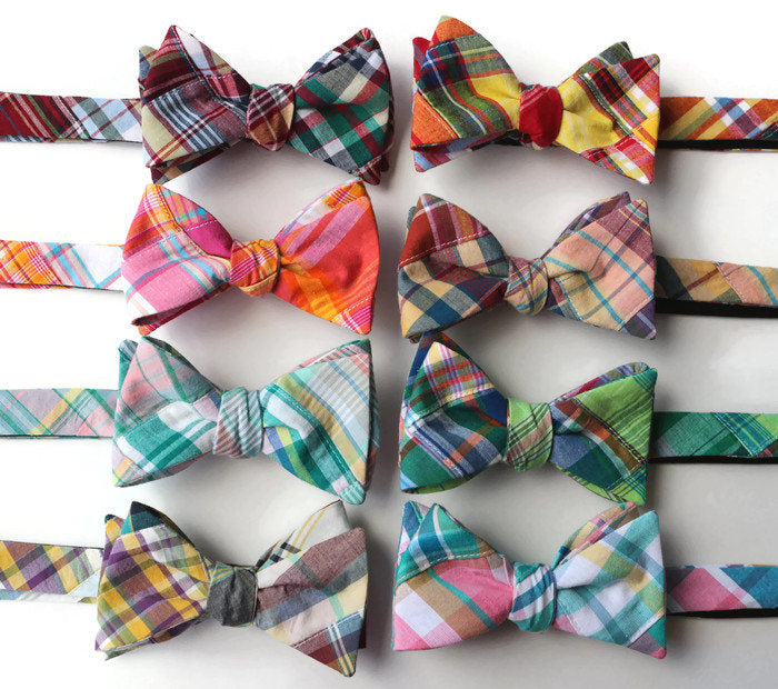 Patchwork Plaid Bow Tie