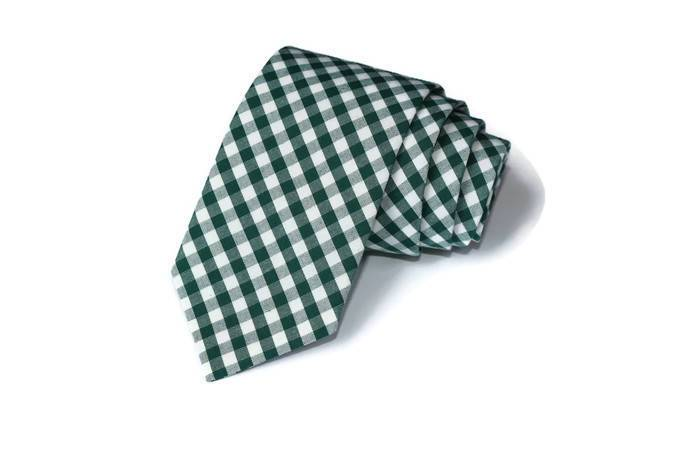 Hunter Green Gingham Necktie - Youth