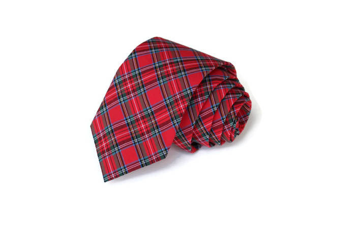 Red Tartan Plaid Necktie