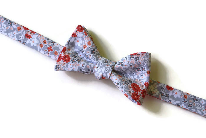 Coral & Gray Floral Bow Tie