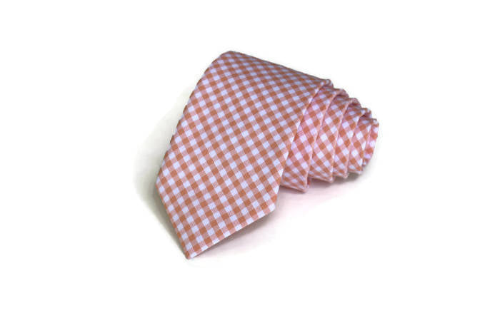 Peach Gingham Necktie - Youth
