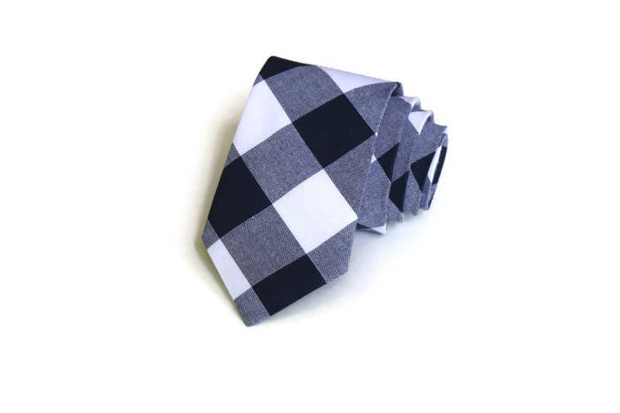 Navy Buffalo Plaid Necktie - Youth