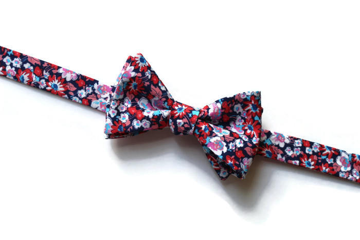 Coral & Navy Floral Bow Tie