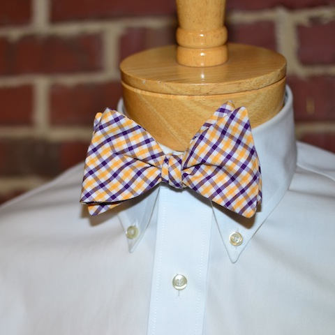 Purple & Gold Tattersall Bow Tie
