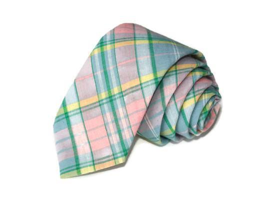 Mint, Green & Peach Madras Plaid Necktie