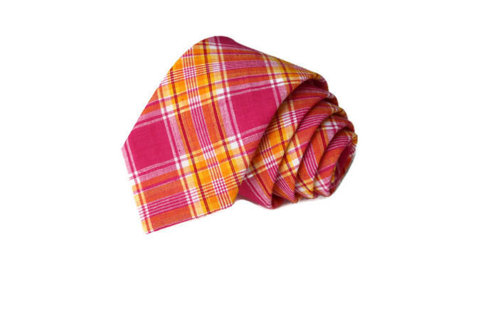 Pink & Orange Madras Plaid Necktie