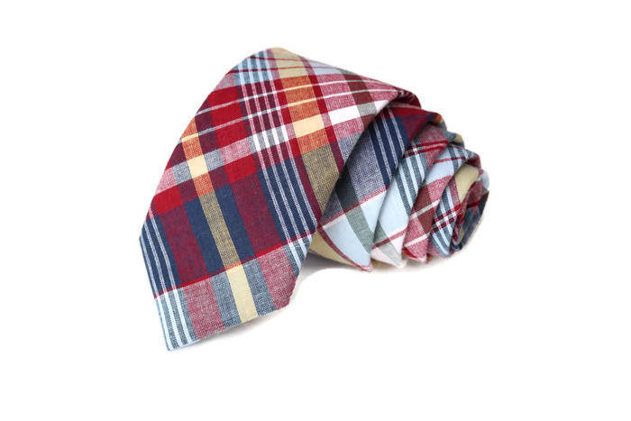 Navy & Red Madras Plaid Necktie