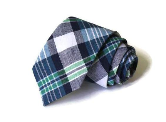 Navy & Green Madras Plaid Necktie