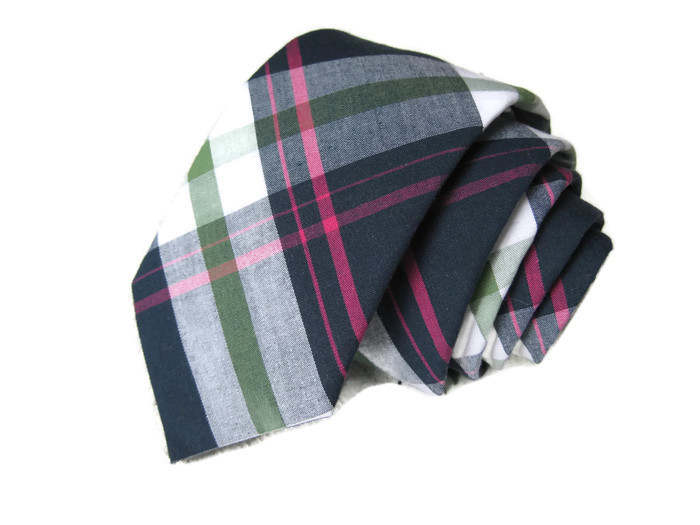 Navy & Pink Plaid Necktie - Youth