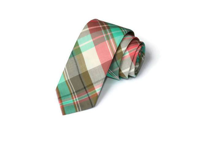 Coral and Mint Plaid Necktie - Youth