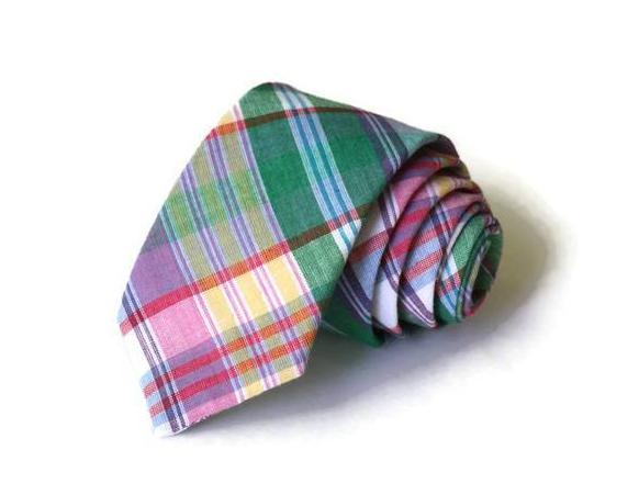 Green & Purple Madras Plaid Necktie - Youth