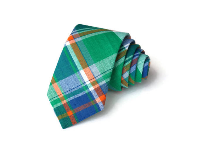 Green, Orange, & Blue Madras Plaid Necktie