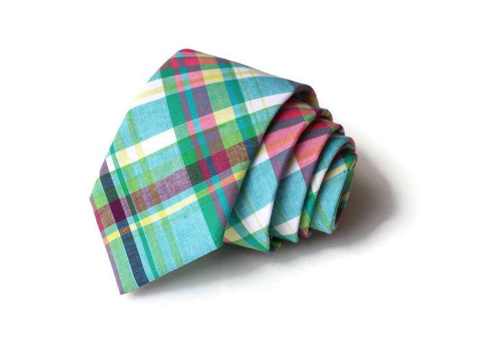 Easter Madras Plaid Necktie - Youth