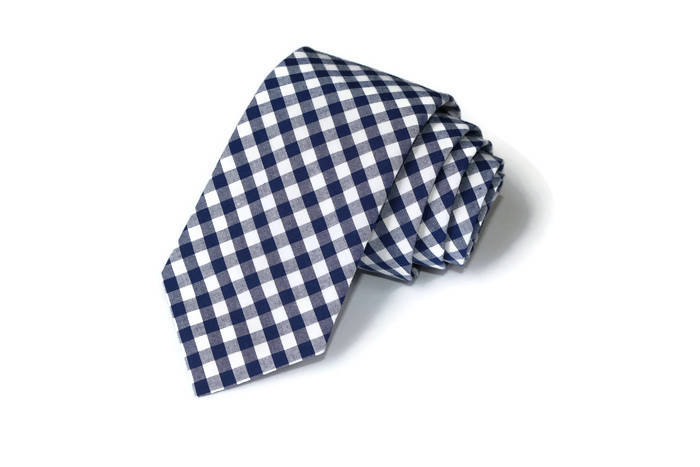 Navy Blue Gingham Necktie - Youth