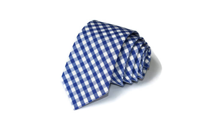 Royal Blue Gingham Necktie - Youth
