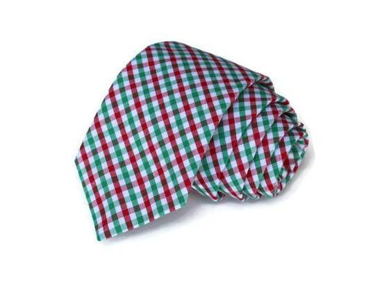 Red & Green Tattersall Necktie - Youth